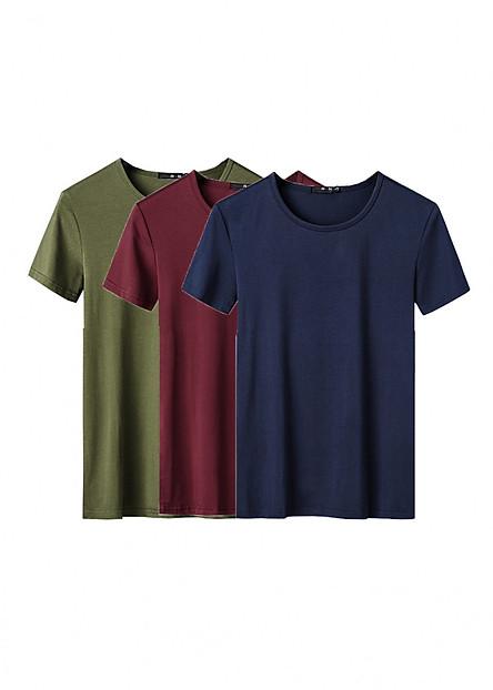 Combo 3 áo thun nam body ngắn tay cổ tròn (Đỏ, xanh rêu, xanh đen)