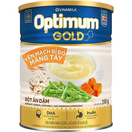 Bột Ăn Dặm Vinamilk Optimum Gold Yến Mạch Bí Đỏ Măng Tây Hộp Thiếc 350gr