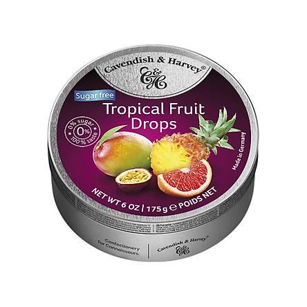 Kẹo Trái Cây Nhiệt Đới Không Đường Cavendish & Harvey (175g)  Sugar Free Tropical Fruit Cao Cấp Hộp Thiếc Bạc Nhập Khẩu