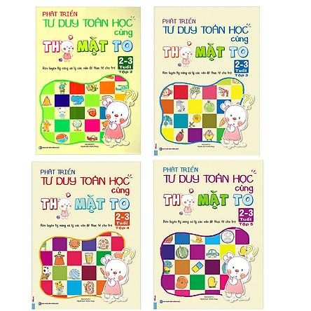 Combo Sách Phát Triển Tư Duy Toán Học Cùng Thỏ Mặt To 2-3 Tuổi ( Bộ 4 Cuốn Lẻ) tặng kèm bút chì