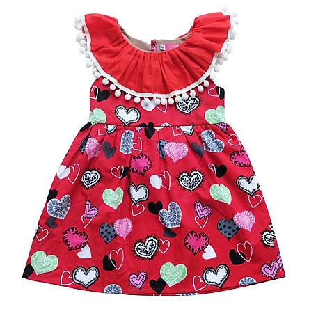 Đầm In Tim Cổ Bèo Đỏ Cuckeo Kids - T111807 - Đỏ