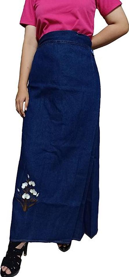 Váy Chống Nắng Jean Loại Vải Mềm Cao Cấp Thêu Hoa Thanh Tú Trắng Có Nút Gài Sau