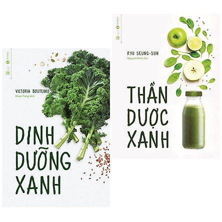 Combo 2 cuốn sách dậy nấu ăn sử dụng tốt các loại rau quả: Thần Dược Xanh + Dinh Dưỡng Xanh ( Tặng kèm Bookmark Happy life)