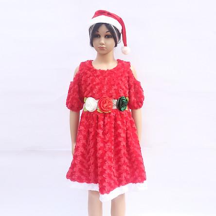 Set váy Noel nhung hoa hồng hở vai kèm mũ cho bé