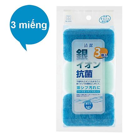 3 Miếng Bông Rửa Chén Kháng Khuẩn Kokubo 2609 Nhật Bản