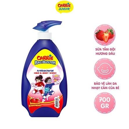 Sữa Tắm Gội Sạch Khuẩn Carrie Junior BacBuster Hương Strawberry 700G