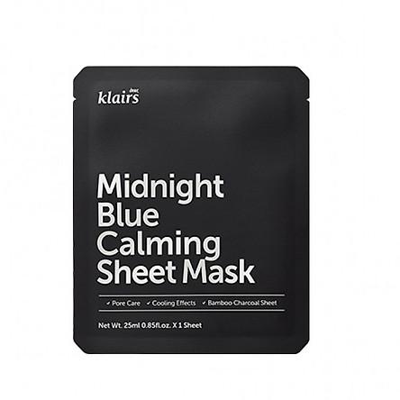 Mặt nạ dưỡng ẩm, làm dịu cho da nhạy cảm, kích ứng Klairs Midnight Blue Calming Sheet Mask 25ml