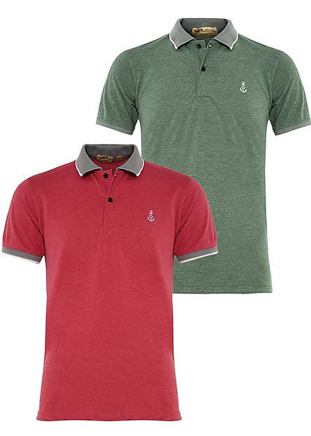 Bộ 2 áo thun nam Polo cổ phối bo dệt đẹp chuẩn Xmen PIGO cao cấp AHT08 (rêu, đốm đỏ)