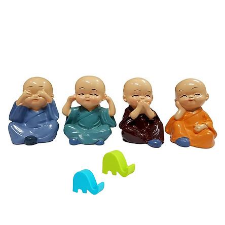 Tứ không - Bộ set 4 tượng phật chú tiểu tu sĩ 4 Không : Bớt Nghe - Bớt Nói - Bớt Nhìn - Bớt Nghĩ tặng giá đỡ điện thoại hình voi con