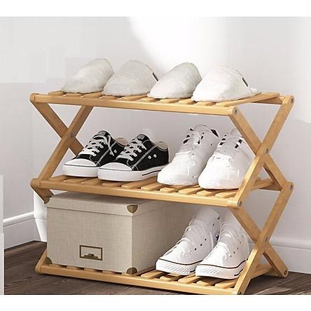 Kệ gỗ đựng giày dép gấp gọn chữ X 3 tầng - Màu ngẫu nhiên