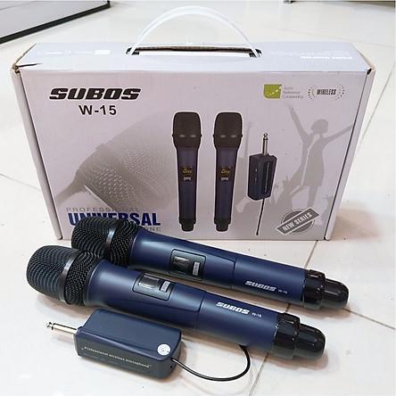 Bộ 2 Micro Subos-W15 Không Dây Karaoke - Hàng Nhập Khẩu
