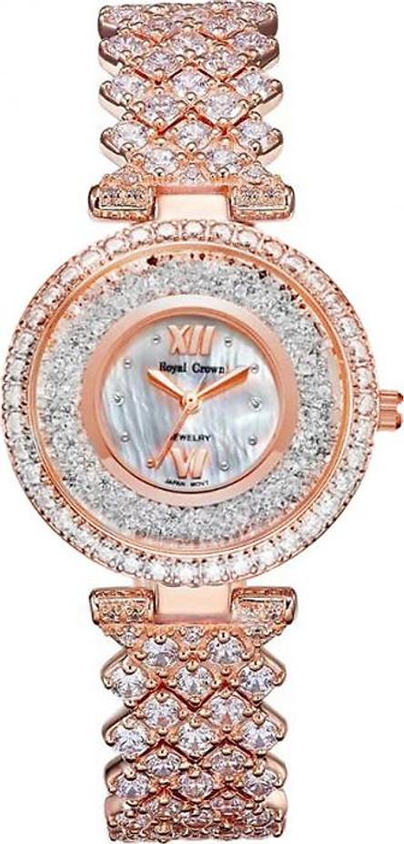 Đồng hồ nữ chính hãng Royal Crown 2606 dây đá vỏ vàng hồng