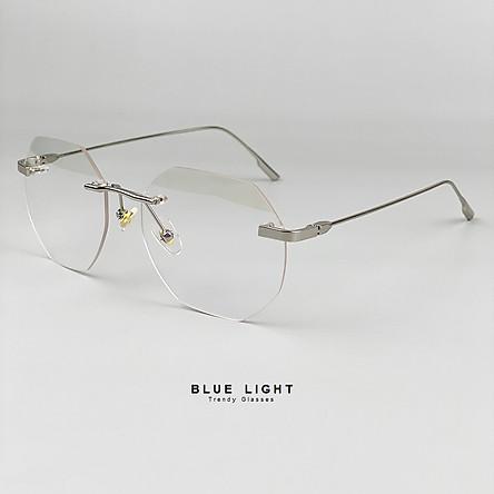 Kính Giả Cận Chống Ánh Sáng Xanh, Chống Mỏi Mắt, Gọng Kính Cận Nam Nữ Không Viền Đa Giác Không Độ Hàn Quốc - BLUE LIGHT SHOP