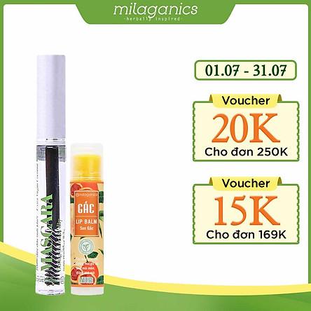 Combo Son Gấc Thiên Nhiên Dưỡng Môi, Giảm Thâm Milaganics (4.5g) + Mascara Dầu Dừa Dưỡng Mi Milaganics