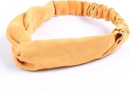 Băng Đô Cài Tóc Vải Nhung Màu Vàng Sậm