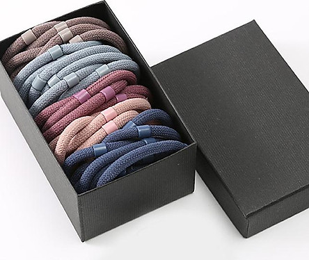 Sét 40 dây buộc tóc tròn cao cấp xuất Nhật HD12 hộp giấy sang trọng