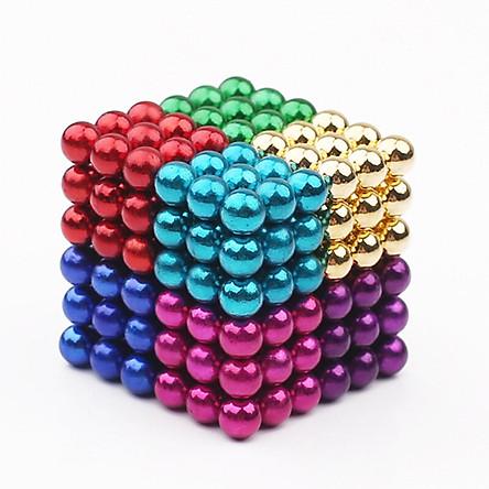 Nam châm vĩnh cửu - Bi nam châm xếp hình - Đồ chơi thông minh an toàn cho trẻ tử 13 tuổi, một hộp 216 viên, đường kính bi 5mm, có nhiều màu