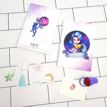Bộ Sưu Tập Cá Tính Cung Hoàng Đạo Gồm 2 Sổ Tay Và 1 Con Dấu Tặng Kèm 6 Sticker Mini Mẫu Ngẫu Nhiên - Bảo Bình