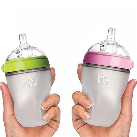 Hộp Ghép 1 Bình Sữa Comotomo 250ml Hồng Và 1 Bình Sữa Comotomo 250ml Xanh