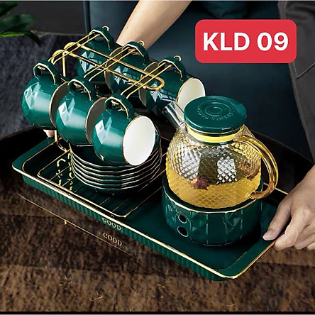 Bộ ấm pha trà thủy tinh khay sứ, đế châm nến, 6 cốc, 6 đĩa và giá treo cốc - VD49