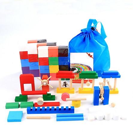 Bộ đồ chơi Domino 360 miếng ghép gỗ xếp hình thông minh cho bé