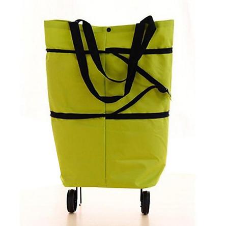 Túi vải cao cấp đi chợ có 2 bánh xe kéo đa năng tặng túi đựng điện thoại chống nước đi biển