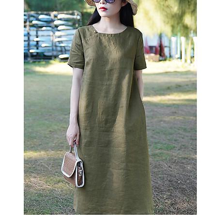 Đầm suông linen xanh rêu cổ vuông ArcticHunter, thời trang xuân hè 2021