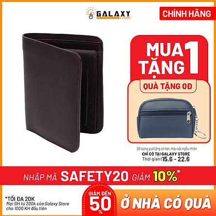 Ví Nam Bóp Nam Đứng Da Bò Thật Có Khe SIM Galaxy Store GVN05 (Nâu)