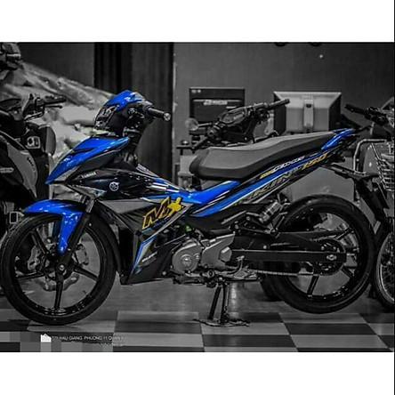 Tem dán dành cho xe máy Exciter 150 mẫu Mx King xanh đen (bộ)