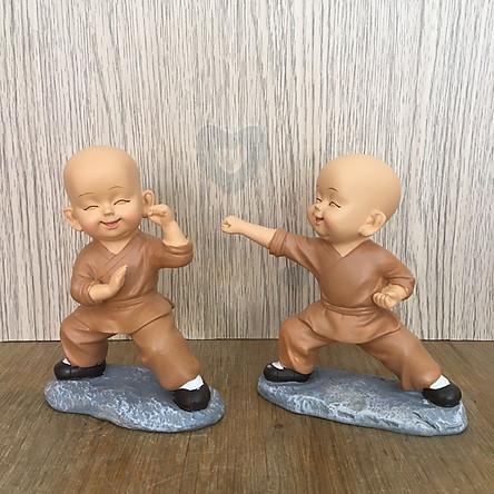 Bộ tượng 2 chú tiểu yêu đời - luyện võ