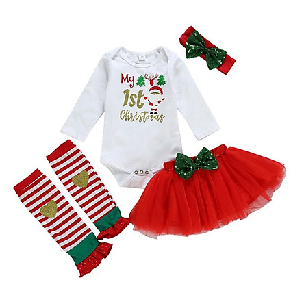 Christmas Gift Baby Girl Clothes Long-sleeved Rompers Net Yarn Skirt Knee-length With Headband 4PCS Clothes Set