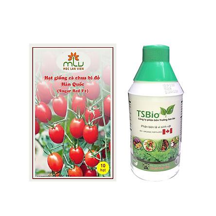 Combo Hạt giống cà chua bi đỏ Hàn Quốc – Sugar Red F1( gói 10 hạt) + Chai Phân bón Trường Sơn Bio Chai 1L