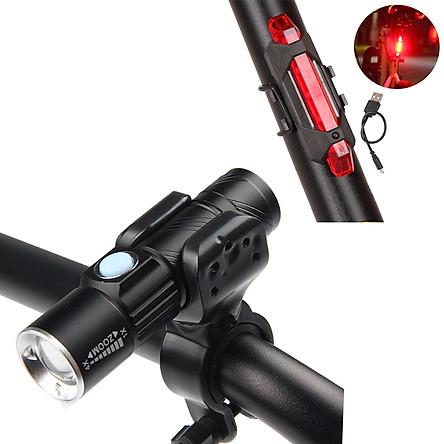 Combo Đèn Pha Xe Đạp LED Q5 Gắn Phía Trước Có Sạc USB Chống Nước Mini Siêu Sáng (Kèm Chân Đế Gắn Đèn Pin) Và Đèn LED Cảnh Báo Sau Xe Đạp 4 chế độ Mai Lee