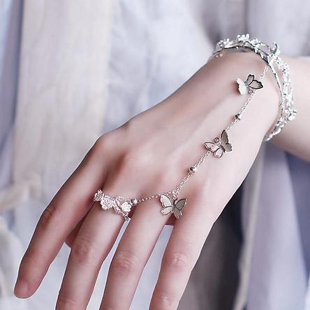 (Ngẫu nhiên 1 chiếc) Vòng lắc tay nối nhẫn gắn bướm lục lạc hoa đào cổ trang Tam sinh tam thế