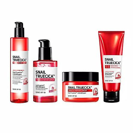 Bộ 4 sản phẩm dưỡng phục hồi da, cải thiện sẹo lõm Some By Mi Snail Truecica Miracle Repair (SRM, Toner, Serum, Cream)