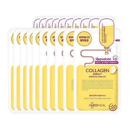 Hộp 10 Mặt nạ dưỡng săn chắc da ngăn ngừa lão hóa da Mediheal Collagen Impact Essential Mask Ex