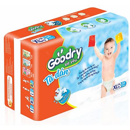 Bộ 4 Gói Tã Dán Goodry Bé Yêu XL34 (>14kg)