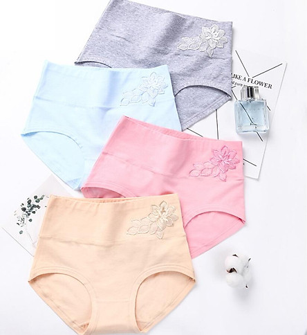 Langsha LangSha high waist underwear women's solid color postpartum tummy hip briefs 4 loaded embroidery cotton breathable sexy seamless women's underwear 4 color 4 loaded XL (120-140 kg)