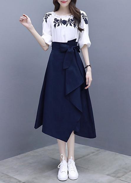 Hàng Nhập - Sét Đầm Áo Thêu Hoa + Chân Váy Xếp Ly Cách Điệu T&T - TGT2089