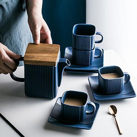 Bộ ấm trà & cốc sứ vuông phong cách Bắc Âu - Blue