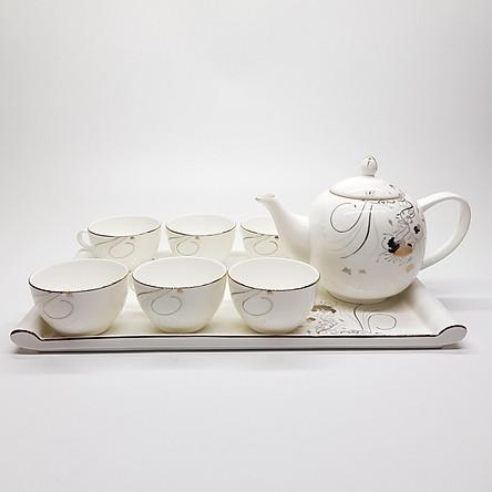 Bộ tách trà khay Sứ xương Bone Porcelain (Bình 1L, Tách 130ml) (Nhiều hoa văn)