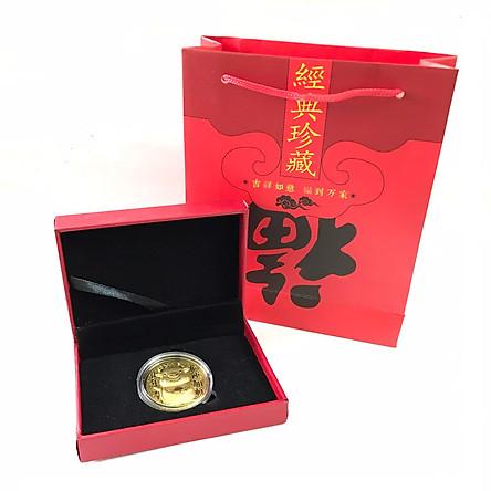Hộp quà tặng đồng xu con Trâu cute màu vàng 2021, dùng để làm quà tặng, biếu dịp Lễ, Tết, sưu tầm, trưng bày trong nhà, trang trí bàn sách - SP005047