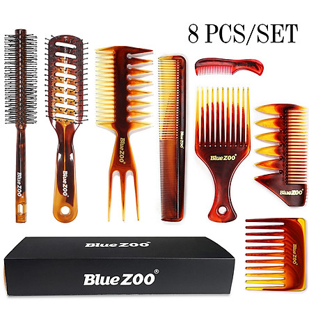 BlueZOO Plastic Comb Kit Detangling Hair Comb Set Wide Tooth Comb Anti-static Massage Comb for Hairdressing & Styling