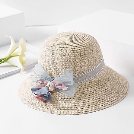 Nón cói đi biển đính hoa ly ly cói mềm thuận tiện gấp gọn bỏ balo 4 màu