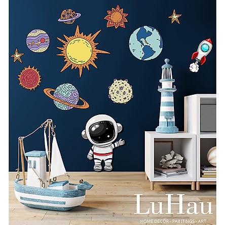 Tranh gỗ decor dán tường Luhau Galaxy Vũ trụ bao la 3D, tranh gỗ trang trí phòng ngủ, phòng khách và phòng cho bé. Tặng kèm băng dính 3M gắn sẵn chỉ cần bóc và dán lên tường.
