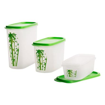 Bộ 3 Hộp Bảo Quản Thực Phẩm Tupperware Kitchen Mate Bamboo