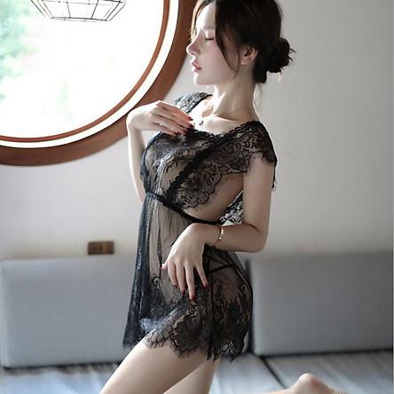 Váy ngủ ren xuyên thấu 2 dây gợi cảm - Đen