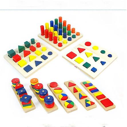 Bộ 8 món hình học cảm giác quan phương pháp montessori