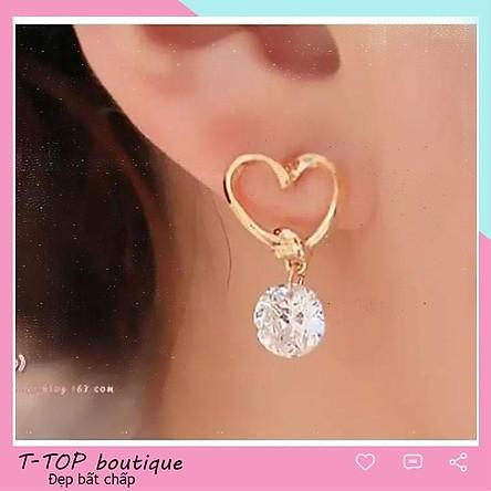 Bông tai nữ hình trái tim, khuyên tai đẹp kiểu dáng thời trang