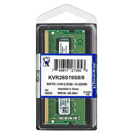 RAM Laptop Kingston Value 8GB DDR4 2666MHz KVR26S19S8/8 - Hàng Chính Hãng